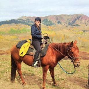 Nicolette Mallow (the writer) horseback riding in Crested Butte, CO at approximately 10,5000 ft.