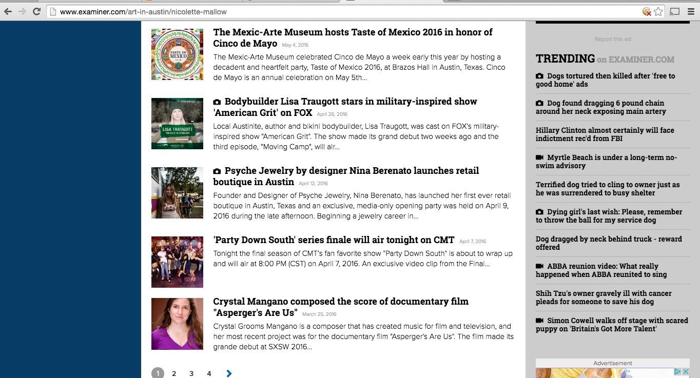 Examiner com shut down its website – Nicolette Mallow