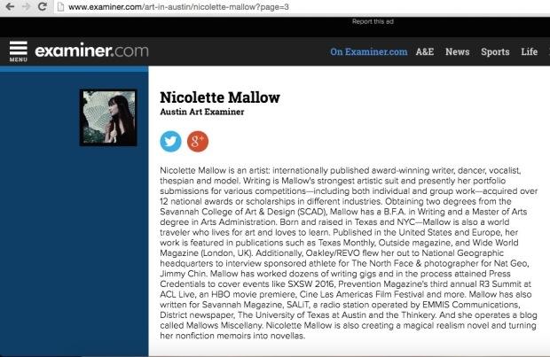 nicolette mallow, examiner.com