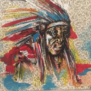 """Headdress Study #2"" created by John Breiner. Original Acrylic Ink on Found Paper. $1,195."