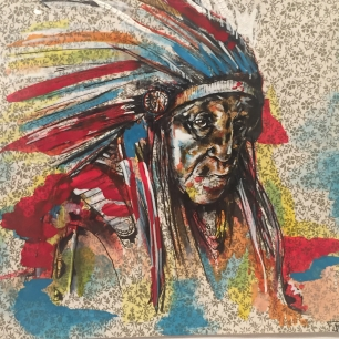 """Headdress Study #2"" created by John Breiner. Original Acrylic Ink on Found Paper. $1,195."