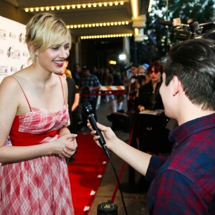 Greta Gerwig at The Paramount Theatre in Austin, Texas.